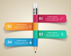 Free Business Infographics Origami Style Vector Illustration. Pencil Royalty Free Stock Photos - 69966258