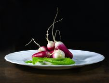 Fresh Radishes In White Plate Royalty Free Stock Photos