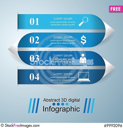 Free 3D Infographic Design Template And Marketing Icons. Royalty Free Stock Image - 69992096