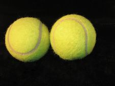 Free Tennis Balls  On Black Royalty Free Stock Photography - 72737