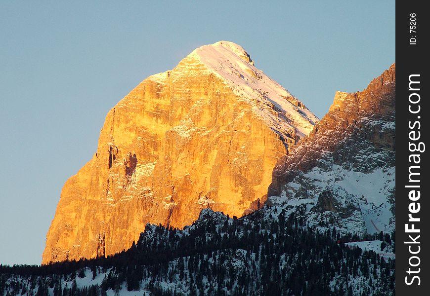 Winter dolomites sunrise