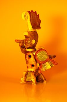 Free Aztec Warrior In Flaming Color Royalty Free Stock Images - 703329