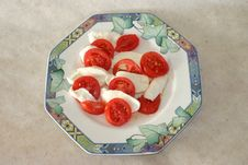 Free Mozzarella Cheese And Tomato Salad. Stock Photography - 704742