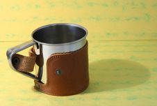 Free Steel Mug In Leather Case Royalty Free Stock Images - 705229