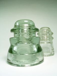 Free Two Glass Insulators Royalty Free Stock Photography - 707117
