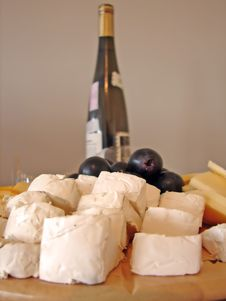Free Cheeses Plate And Bottle Of Wine Stock Photography - 709592