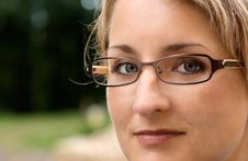 Closeup Of Young Woman With Glasses Royalty Free Stock Images