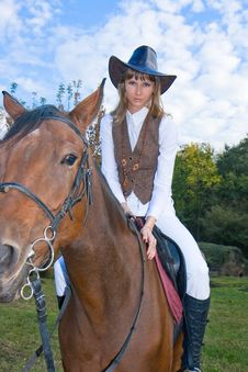 Free Pretty Young Woman And Horse. Royalty Free Stock Photo - 7006375