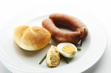 Free Kransky Sausage With Bread And Eggs Royalty Free Stock Image - 7007256