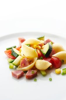 Pasta With Different Vegetables And Pork Sausage Stock Images