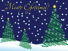 Free Christmas Wallpaper With New Year Trees And Snow Stock Images - 7007734