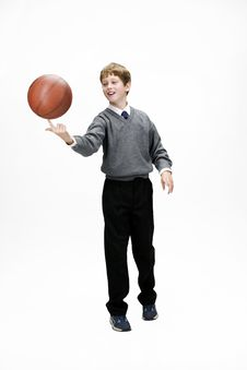 Schoolboy With Ball Stock Photography