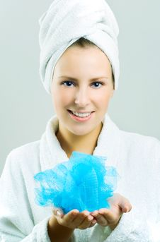 Free Beautiful Girl With Bath Sponge. Stock Photo - 7007950