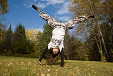 Free Handstand On Grass Royalty Free Stock Photos - 7008728