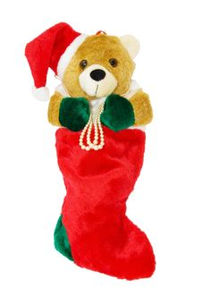 Free Christmas Teddy Stocking With Clipping Path Stock Photography - 7009772