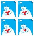 Free Cartoon Polar With Hearts Stock Images - 7016824