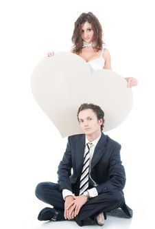 Free Cute Couple With Heart Shaped Copy-space Stock Photos - 7011653