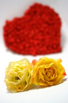 Free Yellow Roses Against Red Heart On Background Royalty Free Stock Images - 7011859