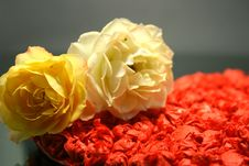 Free Yellow Roses Against Red Heart On Black Background Stock Photo - 7011900