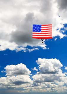 An American Flag Hot-air Balloon Royalty Free Stock Images
