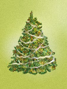 Fir-tree On A Green Background Royalty Free Stock Images
