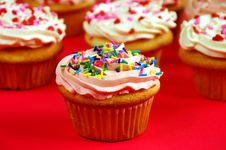 Free Pink And White Cupcakes Stock Image - 7013591
