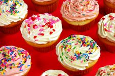 Pink And White Cupcakes Stock Photos