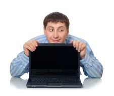 Artful Man Behind The Laptop Stock Photography