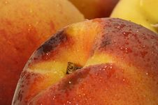 Free Fresh Peaches With Drops Royalty Free Stock Image - 7015226