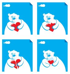 Free Cartoon Polar With Hearts Stock Images - 7016824