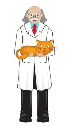 Free Scientist With Cat Stock Photo - 7017240