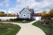 Free Blue Pool House With White Trim Stock Photos - 7017293