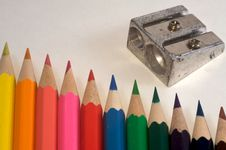 Free Pencils And Sharpener Royalty Free Stock Images - 7017529