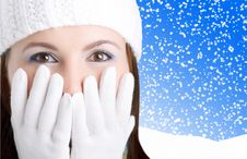 Winter Girl Looking Surprised Royalty Free Stock Photography