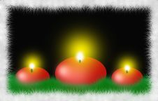 Free Three Red Round Christmas Candles Royalty Free Stock Photography - 7019037