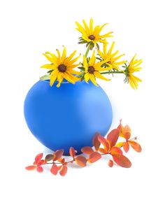 Free Camomiles In Blue Vase Royalty Free Stock Image - 7019246