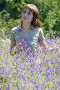 Free The Girl Collects Wild Flowers Stock Photo - 7026680