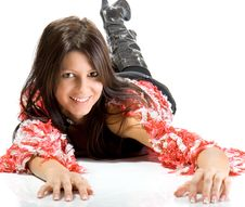 Beautiful Young Woman Laying On Floor Smiling. Stock Photography