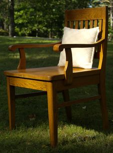 Old Wood Chair With Pillow