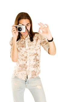 Free Professional Photographer With Digital Camera. Stock Images - 7022084