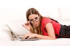 Free Woman Using Laptop Royalty Free Stock Image - 7023206