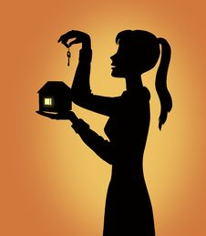 Free Girl Silhouette With House Royalty Free Stock Photography - 7023527