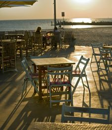 Restaurent Beach Sunset Stock Images