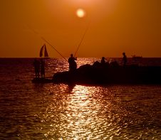 Sunset Fisherman Boat Peer Stock Image