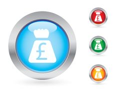 Glossy Money Button Set Stock Images