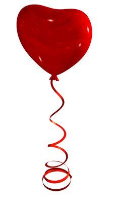 Free Red Heart Balloon On Ribbon Stock Photo - 7024150