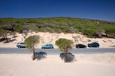 Free Cars Parked On Sand Dunes At Tarifa Beach In Spain Royalty Free Stock Image - 7024216