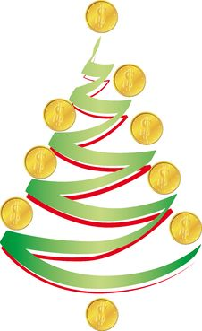 Christmas Tree With Coins Royalty Free Stock Images