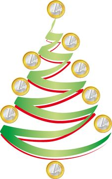 Christmas Tree With Coins Stock Photos