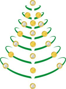Christmas Tree With Coins Royalty Free Stock Photo